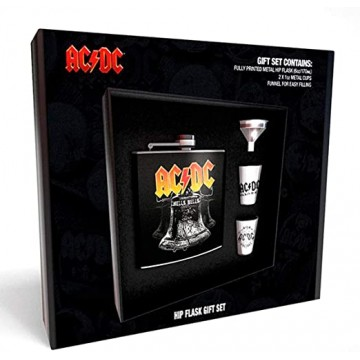 Blašķes Komplekts ar Piltuvi un 2 Glāzēm AC/DC Hells Bells (Jauna)
