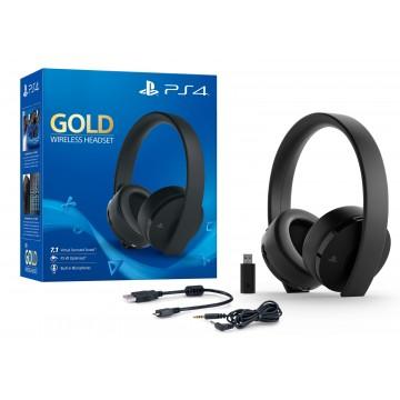 Oficiālās Sony PlayStation 4/PlayStation 5 Gold Bezvadu Austiņas Melnas (Jaunas)