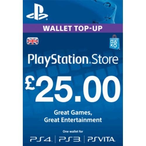 PlayStation Network Live 25 Mārciņu Karte Anglija