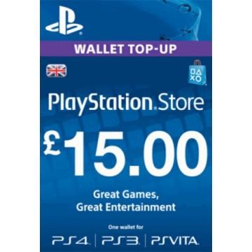 PlayStation Network Live 15 Mārciņu Karte Anglija