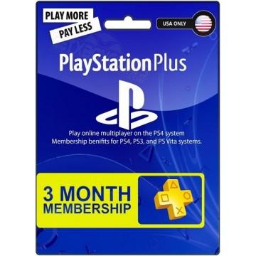 PlayStation Pluss 3 Mēnešu Abonamenta Karte ASV