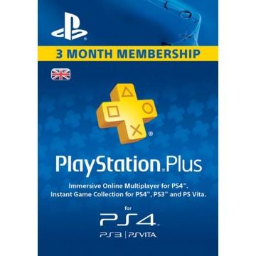 PlayStation Pluss 3 Mēnešu Abonaments UK Papīra Formā