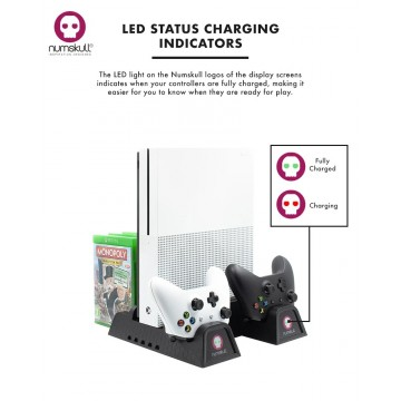 Xbox One Numskull Multifunkcionāls 5 vienā 1 Konsoles Turētājs/Dzesētājs/Pulšu Lādētājs (Jauns)