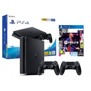 Sony PlayStation 4 Slim 500GB + Ekstra Pults/Controller + FIFA 21 Melna (Jauna)